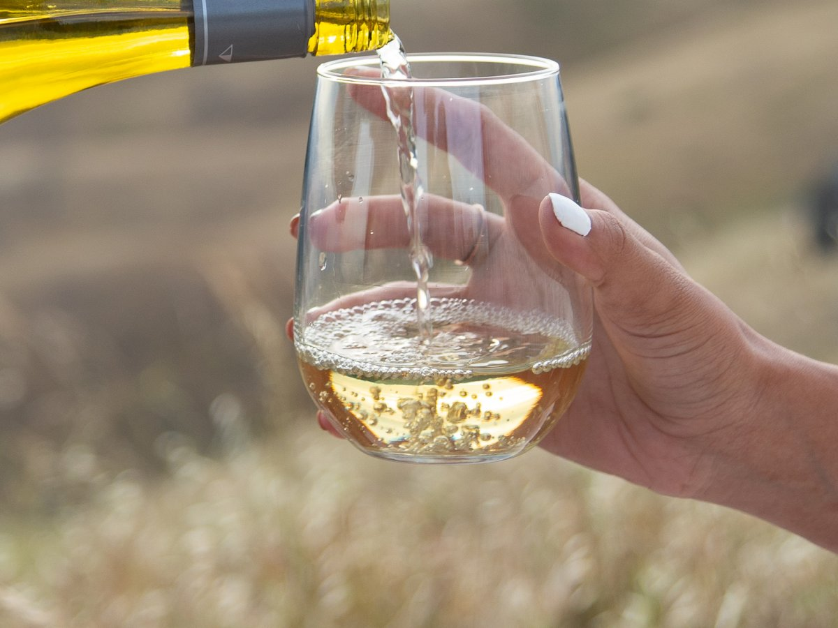 Close Shot of White Wine Being Poured into a Glass