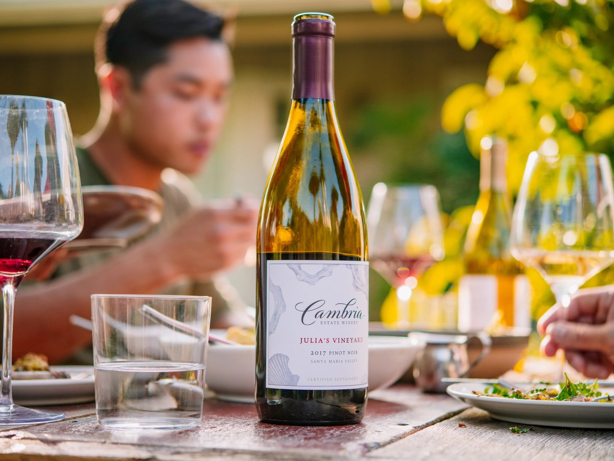 Cambria wine on table