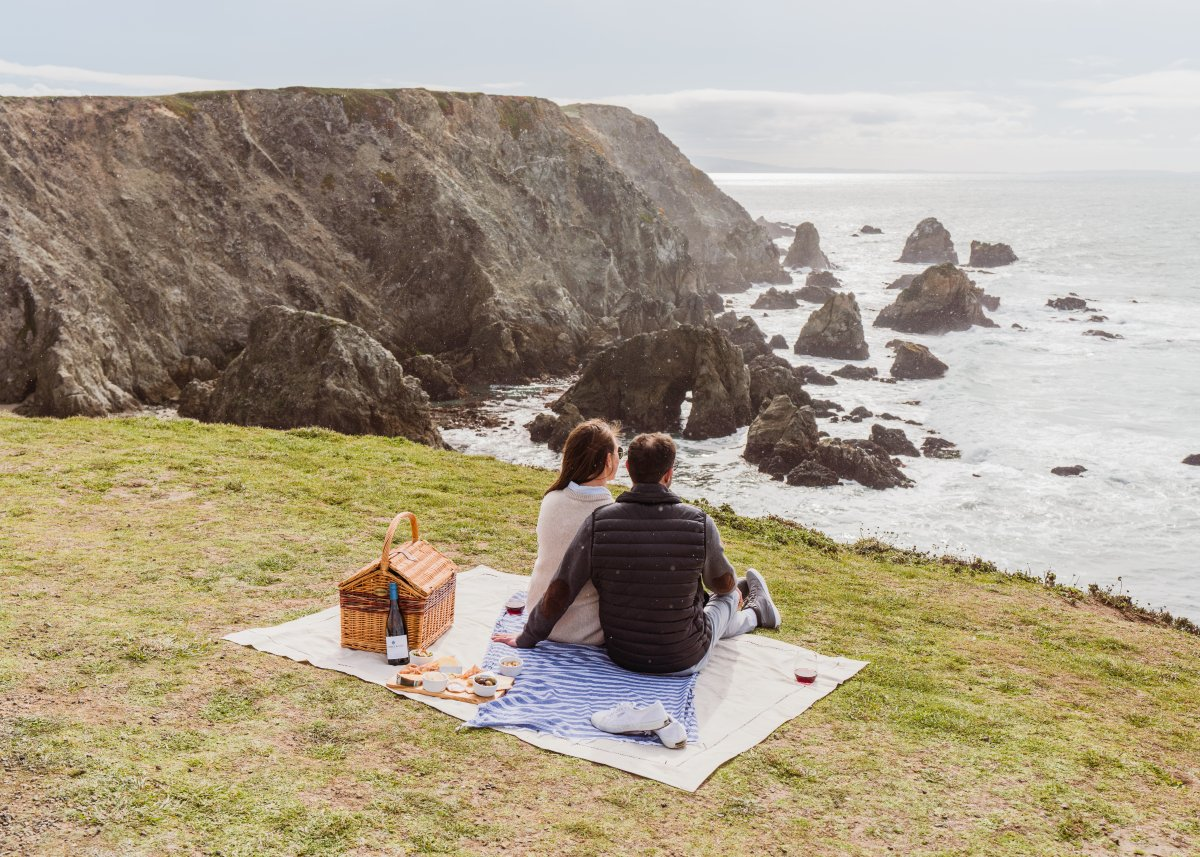 picnic on an ocean side cliff